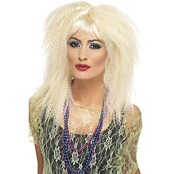 Lange geschichtete Blonde Crimp mit Fringe Perücke, 80er Marke Crimp Perücke