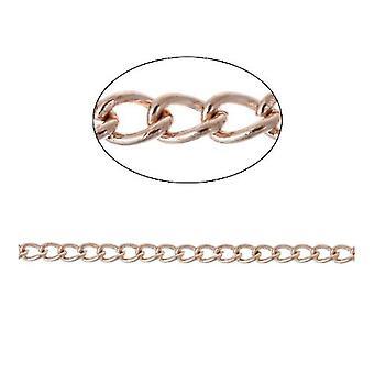 5m x Rose Gold Anti Tarnish Brass 3 x 4mm Open Curb Chain CH2985