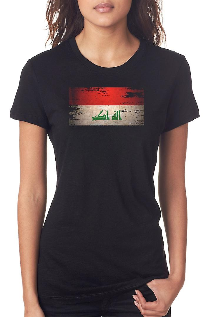 Iraqi Iraq Grunge Flag Ladies T Shirt