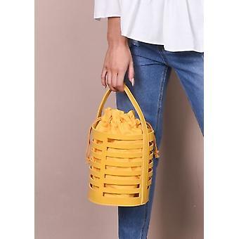 Faux leder Mini Bucket Bag mosterd geel