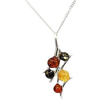 Toc Sterling Silver Geometric Shaped Amber Pendant on an 18 Inch Chain