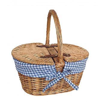 Child's Oval Lined Lidded Wicker Picnic Basket