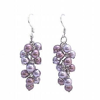 Grape Style Swarovski Gray & Purple Pearls Silver Hook Earring