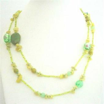 Apple Jade Stone Nugget Millefiorri Murano Glass Beads Long Necklace