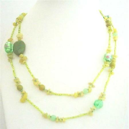 Apple Jade Stone Nugget Millefiorri Murano Glass Beads Long Necklace