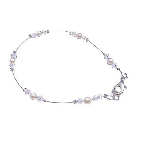 Ivory Pearls Clear Crystals Matching Bracelet Swarovski Prom Jewelry