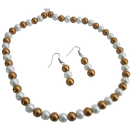 Gold & White Wedding Bridal Pearls Jewelry Necklace Earrings Set