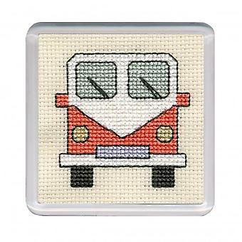 Tekstil arv tælles Cross Stitch autocamper Coaster Orange