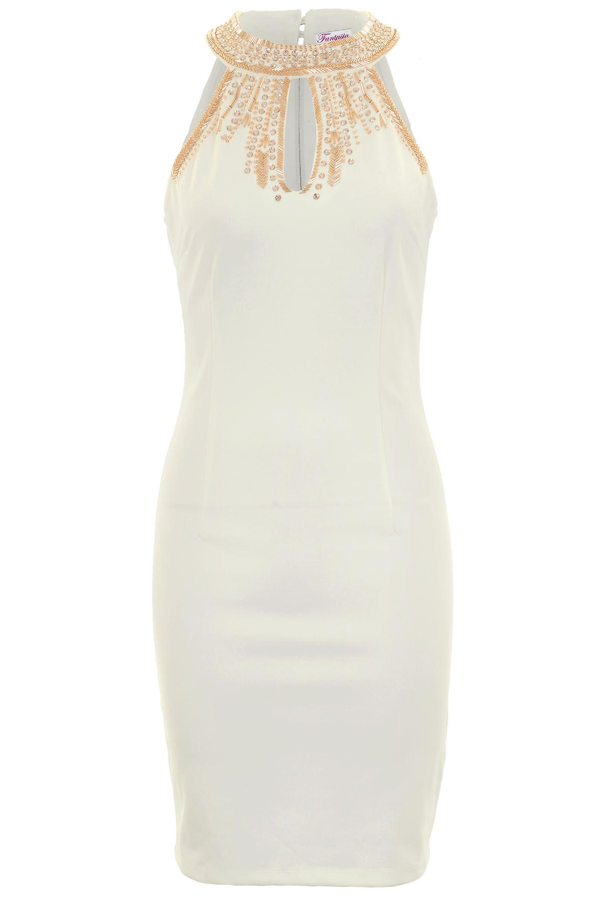 Ladies Sleeveless Cut Out Front Jewel Beaded High Neck Bodycon Short Dress