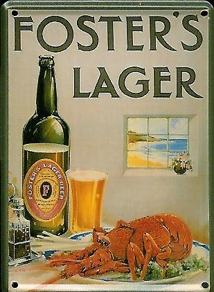 Fosters Lager Lobster metal postcard / mini sign  (hi 2030)