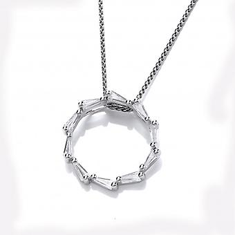 Cavendish French Silver and CZ Catherine Wheel Pendant without Chain