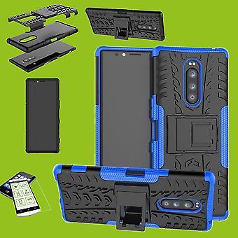 Für Sony Xperia 1 6.5 Zoll Hybrid Case 2teilig Blau Tasche Hülle + Hartglas Etuis