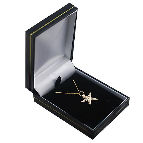 9ct Gold 19x19mm Starfish Pendant with a curb Chain 16 inches Only Suitable for Children