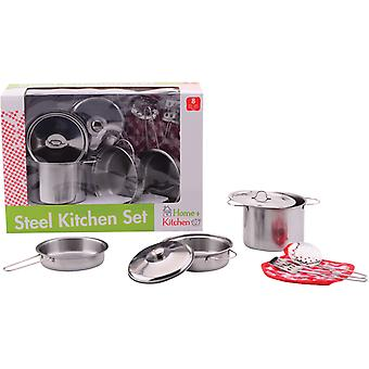 Home and Kitchen stalen pannenset 8-delig