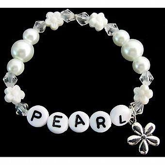 Baby Girl Name Bracelet White Pearls Flower Beads Spacer