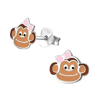 Children's Sterling Silver Monkey Stud Earrings