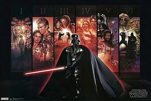 Star Wars Poster Darth Vader Episodes 1-6 Large Print (24x36)