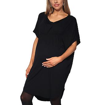 KRISP Maternity Womens Empire Line Short Sleeve Top Long Loose T Shirt Tunic Dress Tee