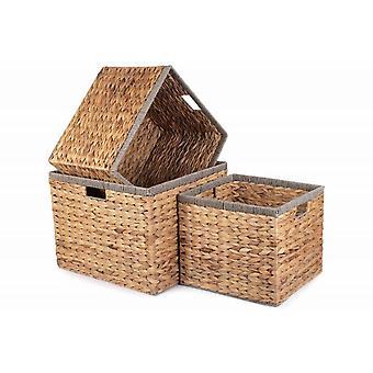 Set of 3 Square Water Hyacinth With Grey Rope Border Storage Basket