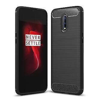 OnePlus 7 TPU étui en fibre de carbone optique brossé étui de protection noir