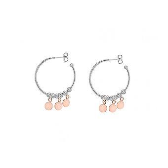 Eeuwigheid Sterling zilveren hoepel oorbellen met 3 Rose schijven