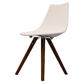Fusion Living Iconic White Plastic Dining Chair With Dark Wood Legs