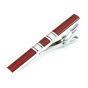 Silver & red stripe men's stainless steel tie clip bar