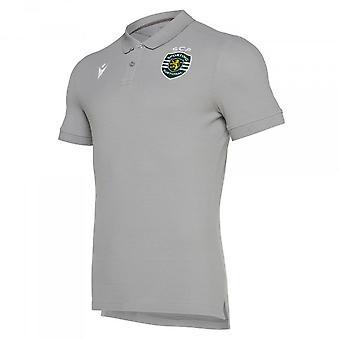 2019-2020 Sporting Lisbon Macron Cotton Polo Shirt (Gris)