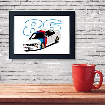 E30 DTM Touring Car, Quality Framed Print - Home Decor Kitchen Bathroom Man Cave Wall Art