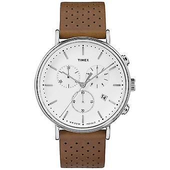 Timex Фэрфилд Chrono Браун кожаный ремешок/белый циферблат TW2R26700