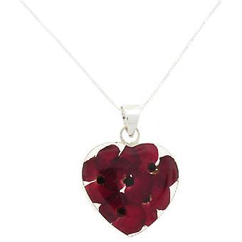 Shrieking Violet Sterling Silver Real Red Poppy Flower Love Heart Pendant