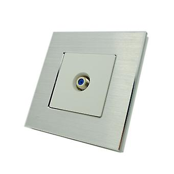 I LumoS Luxury Silver Brushed Aluminium F Screw Type Satellite Single Socket