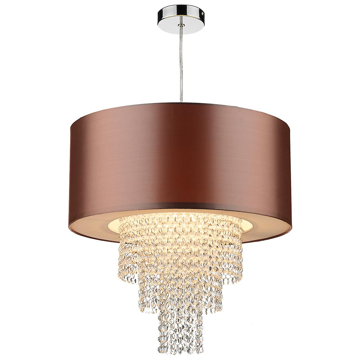 Dar LOP6535 Lopez Easy Fit Non Electric Crystal Glass Drum Pendant