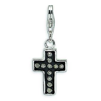 Sterling Silver Crystal Black Enamel and Polished Cross With Lobster Clasp Charm - Measures 29x11mm