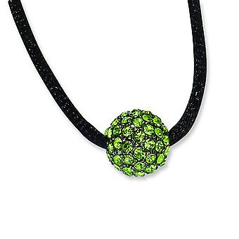 Black-plated Green Crystal Fireball 16inch With ext Satin Cord Necklace