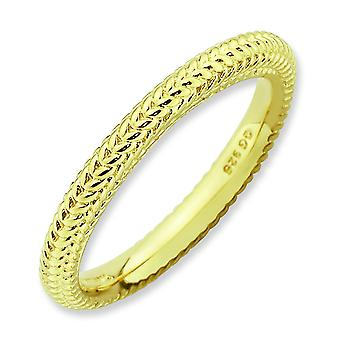 2.75mm Sterling Silver Stackable Expressions Gold-plated Domed Ring - Ring Size: 5 to 10