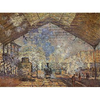 La Gare St Lazare 1877 plakatutskrift av Claude Monet