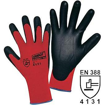 Worky 1177 Skinny PU Coated Knitted Nylon Gloves (Size 7, Red/Black) worky