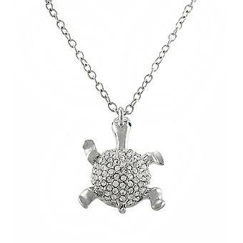 Rhinestone Encrusted Turtle Necklace 24 In.