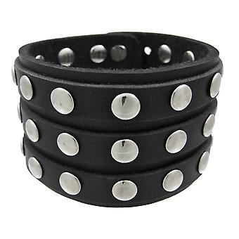 Black Leather 3 Row Metal Studs Wristband Wrist Band
