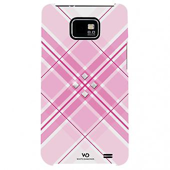 White DIAMONDS Grid Pink Samsung S2 Shell
