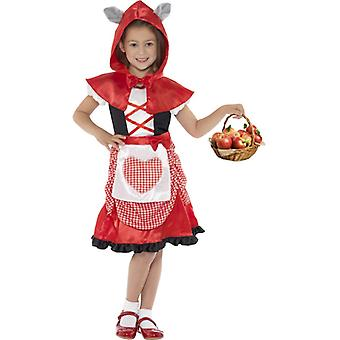 Miss hood costume red dress and hooded Cape with attached Wolf ears Gr. M
