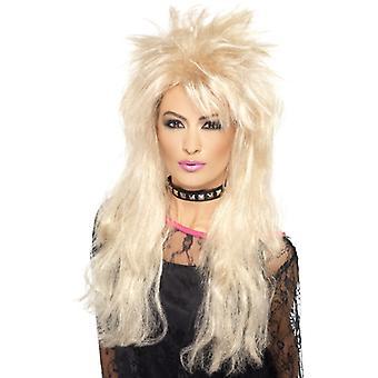80s long mullet wig blonde