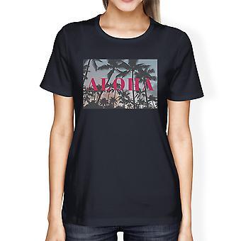 Aloha Summer Theme Womens Navy Lightweight Short Sleeve T-Shirt
