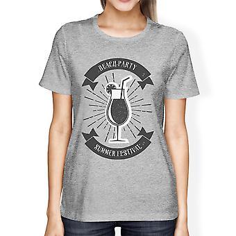 Beach Party zomer Festival Womens grijs katoen Crewneck T-shirt