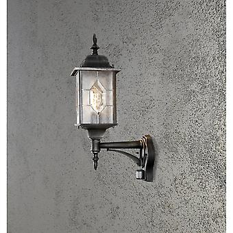 Konstsmide Milano Black Silver Wall Lamp With PIR
