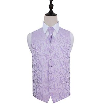 Lilac Passion Floral Patterned Wedding Waistcoat & Tie Set