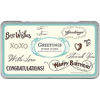 Cavallini Greetings Wooden Rubber Stamp Set x 12 Vintage Style