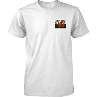 Walisischer Drache Grunge Effekt Flag - Kids-Brust-Design-T-Shirt