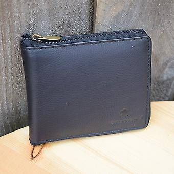 Mens GENUINE REAL Leather Wallet FULL ZIP Around HIGH Quality BLACK